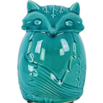 Ceramic Distressed Gloss Finish Turquoise Embossed Sitting Fox Figurine