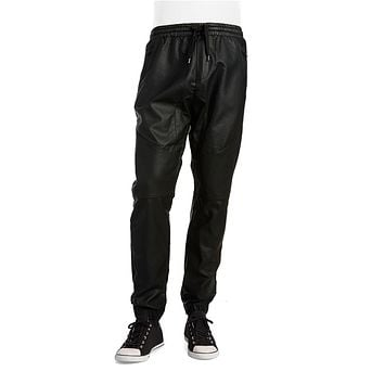 Rogue State Black Faux Leather And Mesh Joggers