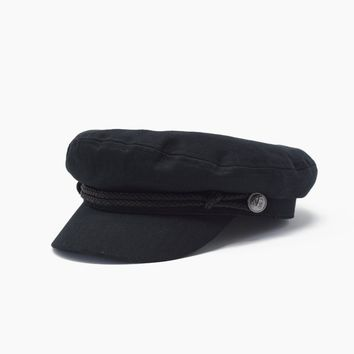 Captain Cap With Brocade - Black