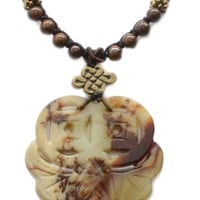 Elegant Carved Fortune Bat and Coin Jade Feng Shui Amulet Necklace - Fortune Fashion Jewelry