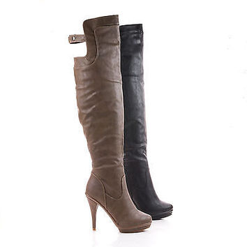 Charlotte20 Thigh High Button Back Strap Stiletto Heel Platform Boots