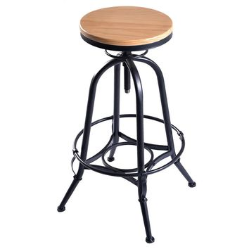 New Vintage Bar Stool Industrial Metal Design Wood Top Adjustable Height Swivel