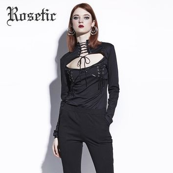 Women Fall Slim Goth Shirts Fashion Young Punk Darkness Short Tops Gothics Blouse