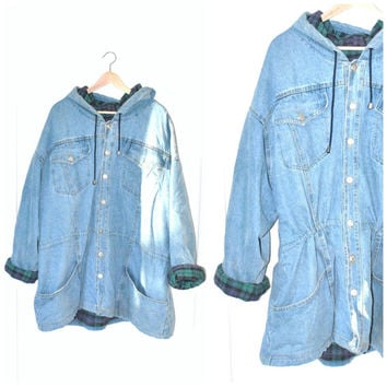 90s GRUNGE long denim parka / vintage early 1990s unisex flannel PLAID lined cinched waist PALE jean jacket anorak xl large