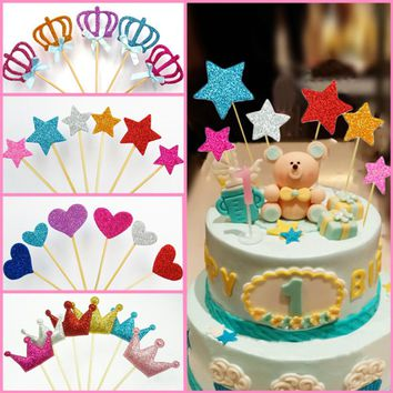 1 Set (6 Pcs) Multicolor Crown/Heart/Star Cake Toppers