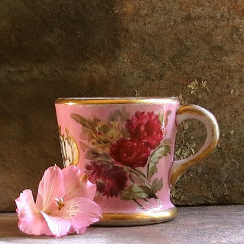 Vintage Pink Floral Shaving Mug - Hand Painted Gold Initials - Red Flowers - Toiletry Cup - Coffee or Tea Size - Cottage Decor