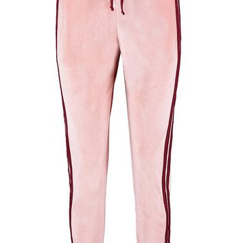 Olivia Side Stripe Velour Jogger | Boohoo