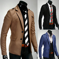 Two Button Men Slim Fit Blazer Jacket