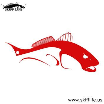 Bull Redfish Car Decal Stickers in Red & White Colors