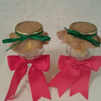 Burlap pink green wedding candle jar / center piece set. Any color to match your wedding