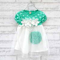 Baby Kid Girls Princess Formal Party Lace Flower Gown Dress Shirt 2 Color 4 Size D_L