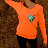 The Dazzle Pocket Sweatshirt Jumper - Sequin Heart Chest Pocket Raglan Sleeve Jumper