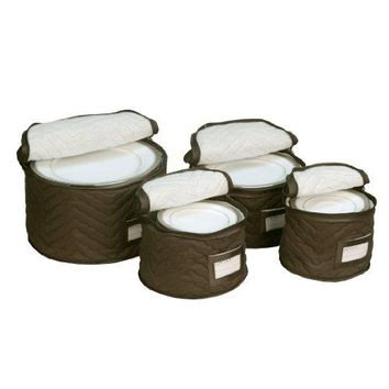 Richards Homewares 4 Pieces Fine China Dinnerware Plates Storage Set - Deluxe Quilted Plush Microfiber - Contents Label Window - Brown