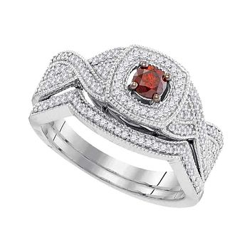 10kt White Gold Women's Round Red Color Enhanced Diamond Twist Bridal Wedding Engagement Ring Band Set 1/2 Cttw - FREE Shipping (US/CAN)
