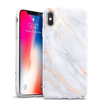LMFXT3 iPhone X Case, iPhone X Marble Case, ESR Slim Soft Flexible TPU Marble Pattern Cover [Support Wireless Charging] for Apple iPhone X (2017 Release)(Grey Gold Sierra)