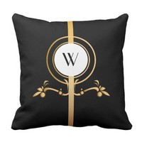 Elegant Black and Gold Monogram Design | Pillow