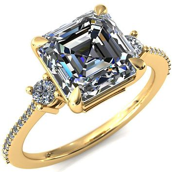 Bonnie Asscher Moissanite 4 Claw Prong 2 Rail Basket Round Sidestones Inverted Cathedral Diamond Accent Engagement Ring