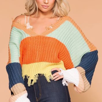 Julianne Distressed Crop Sweater