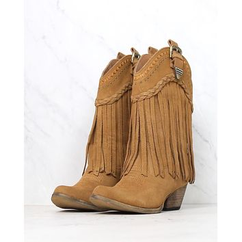 very volatile - pasa suede western boots - tan