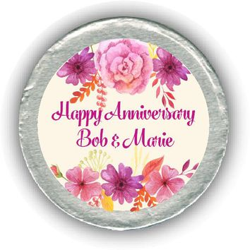 Watercolor Anniversary Chocolate Coins