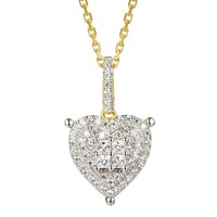 "Princess Cut Stones Designer Love Heart Pendant 18"" Chain"