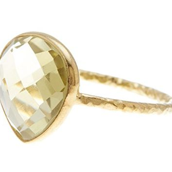 Lemon Quartz 18K Gold Plated Sterling Silver Wholesale Gemstone Fashion Jewelry Pear Cut Ring