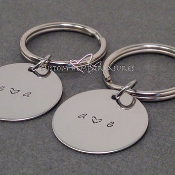 Initials Keychain Hand stamped for Couples with heart, couples gift, couples keychains