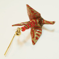 Red and Gold Washi Paper Origami Crane by PinkDragonflyCrafts