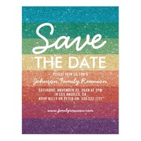 Colorful Glitter Party Reunion Save the Date Postcard
