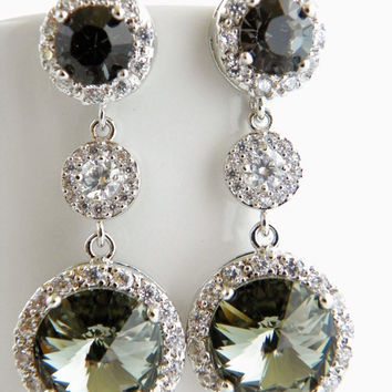 Black Diamond Earrings, Gray Swarovski Earrings, Black and White, Bridal Earrings, Round Crystal Earrings, Bridesmaid Earrings, CZ Jewelry.