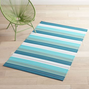 Waterproof Outdoor Blue Striped 4x6 Rug