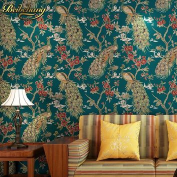 beibehang wall paper Pune peacock emerald palm Southeast Asian style high-end non-woven bedroom living room wallpaper background