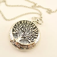 Silver tree of life essential oil diffuser necklace, tree of life pendant, silver pocket watch, pocket watch diffuser, diffusing necklace