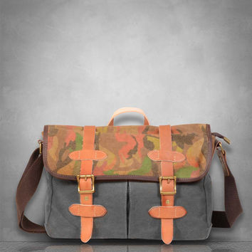 New  Camouflage Camo Genuine Leather and Canvas Messenger Bag laptop tablet A4 documents business