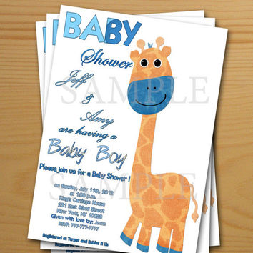 Baby Boy Shower Invitation cards printable - FREE thank you card included, printable files digital files, digital image DIY giraffe download
