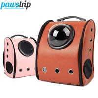 Leather Pet Carrier Space Capsule Shaped Backpack Travel Bag