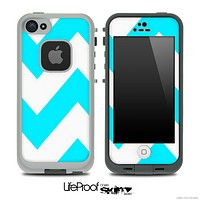 Chevron Pattern V2 Turquoise and White Skin for the iPhone 5 or 4/4s LifeProof Case