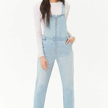 Zip-Front Denim Overalls