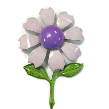 1960s Brooch, Vintage Lavender Enamel Daisy Pin, Mod Flower Power Jewelry, Purple Flower Brooch