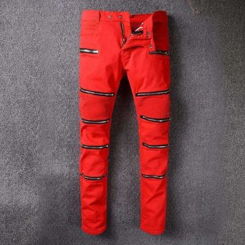 French Style 985Mens Distressed Embellished Ribbed Stretch Moto Pants Biker Red Jeans Slim Trousers Size 28 42