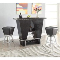 Acme Patrick Bar Stool (Set-2), Black Crocodile PU & Chrome