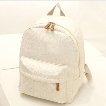 SCYL Fashion Cute Girls Lace Canvas Backpack Bags School Bag women schoolbag for teenage girls