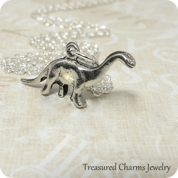 Dinosaur Brontosaurus Necklace, Silver Plated Brontosaurus Charm on a Silver Cable Chain