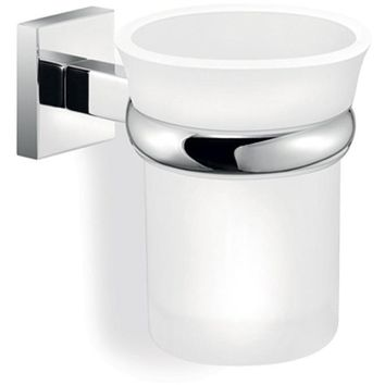 SCBA Strong Wall Frosted Glass Toothbrush Toothpaste Holder Bath Tumbler - Brass