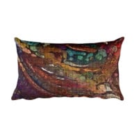 Burgundy Abstract Rectangular Throw Pillow