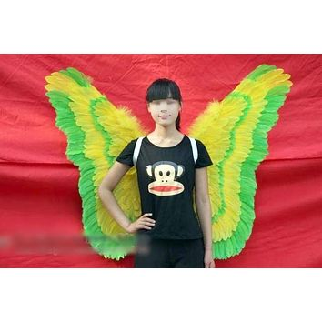 Cosplay Green & Yellow Angel Butterfly Feather Wings Costume Party Event Club Stage