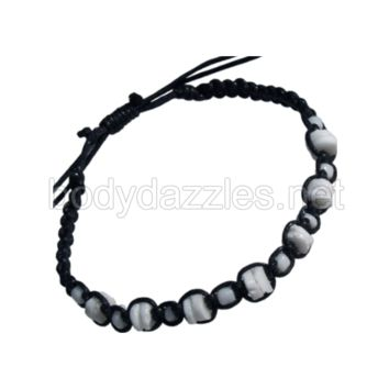 Clam Shell Chip Bead Black Adjustable Bracelet One Size Fits Most
