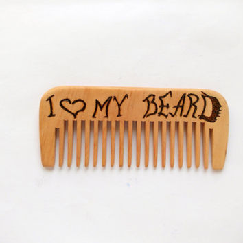 Beard comb, i love mu beard, wooden comb, Engraved wood comb, Moustache comb, wood comb, Fathers day, Gift For Him, For men, Idea gift Dad
