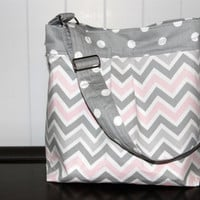 NEW Medium Diaper Bag , Grey and Pink Chevron and Polka dots- The Parker