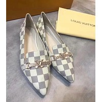 LV Louis Vuitton Trending Women Stylish Leather Pointed Flat Single Shoes